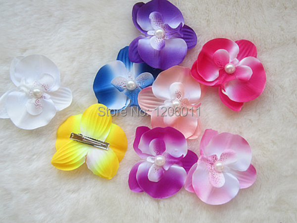 whosesale Mini butterfly orchid pearl headdress flower with clip women corsage, hair clips hair accessories 50/lot