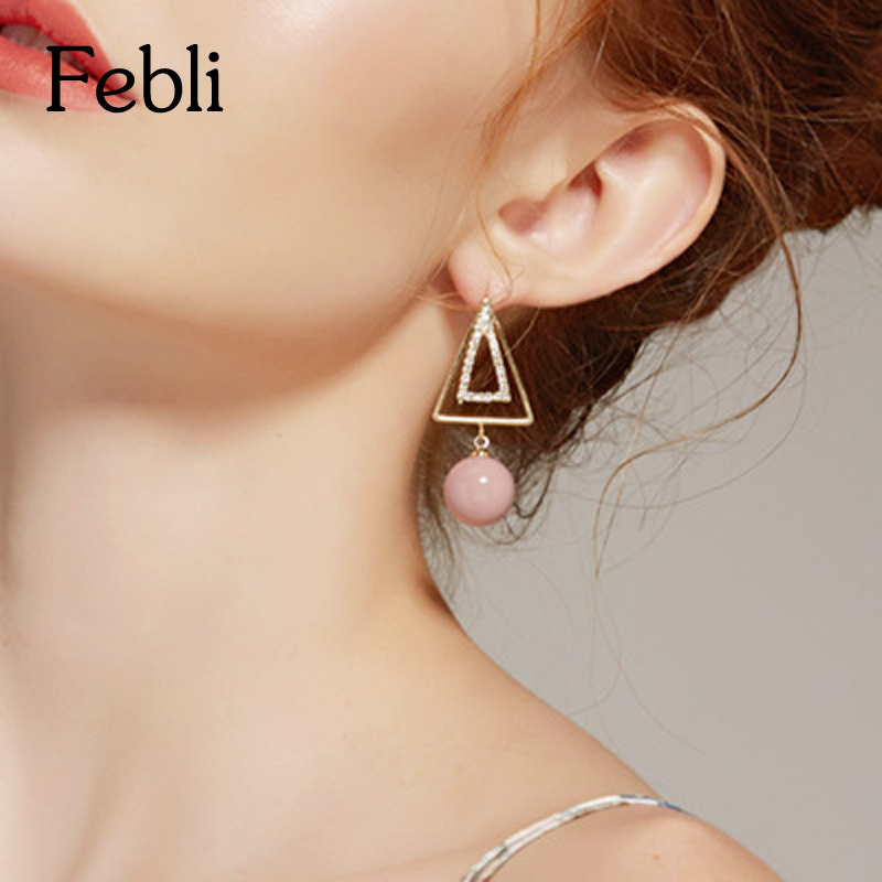 Febli Fresh Temperament Geometry Earrings Triangle And Simulated Pearl Pendants Girl Lovely Pink Colour Earring