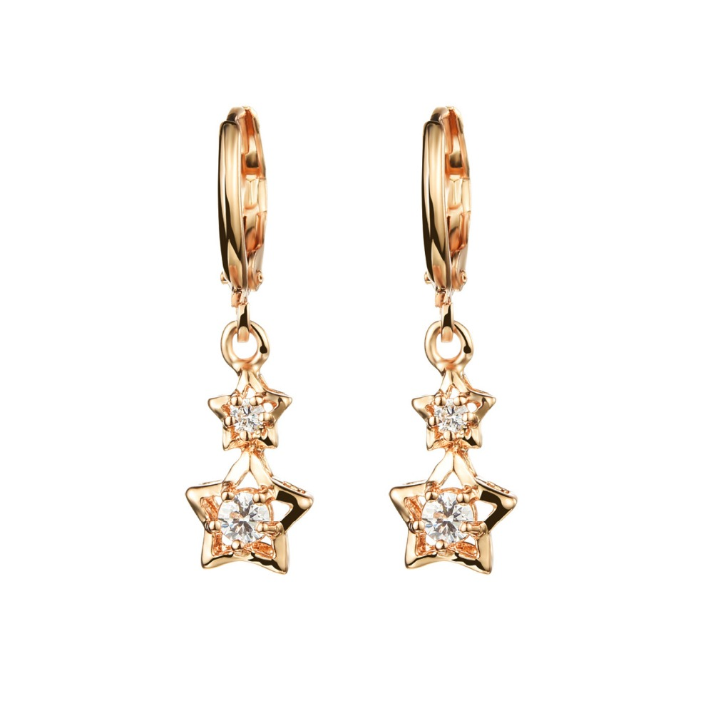 Fate Love Luxury Cubic Zirconia Woman Stud Earrings Romantic Gold Color Cute Star Design Women Wedding Jewelry