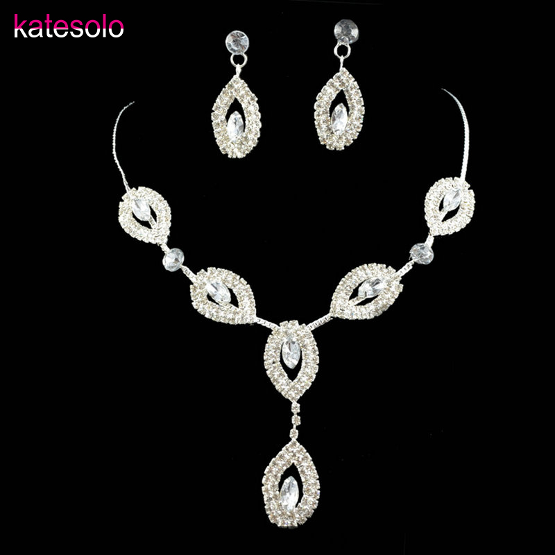 2017 New Arrival Crystal Teardrop Wedding Jewelry Sets Rhinestone Necklace Earrings Bridal Jewelry Sets for Women