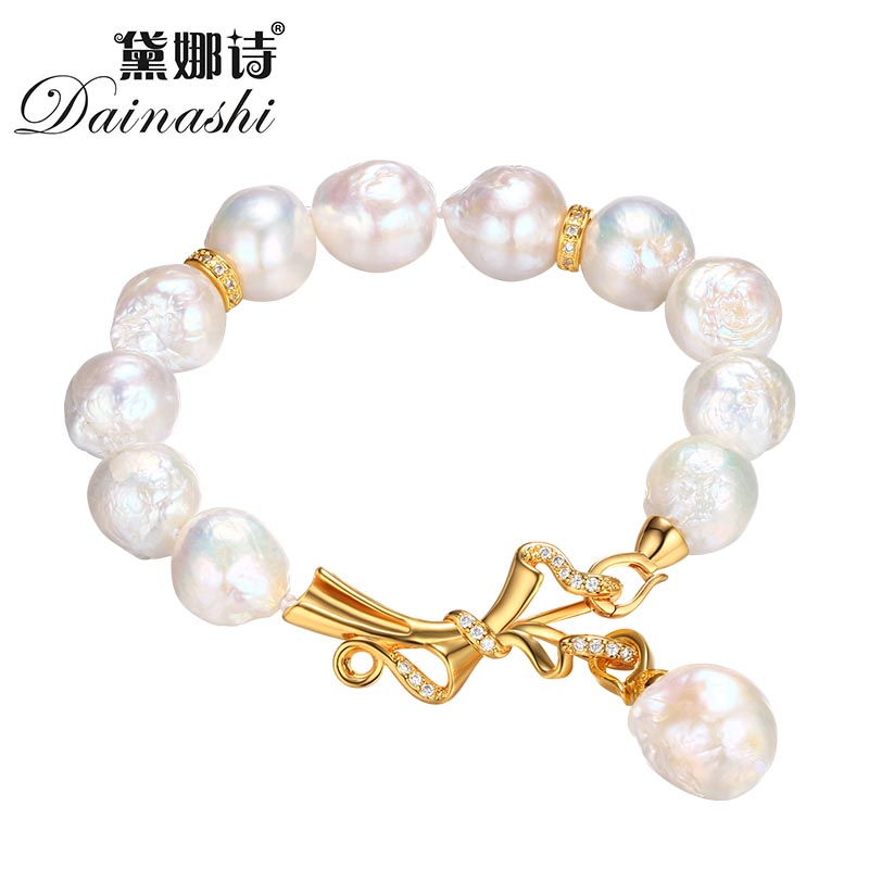 Dainashi Baroque Freshwater Pearl Bracelets For Women Trendy Fine 12.5-13mm Jewelry Bracelets With Gift Box Wedding Accessories