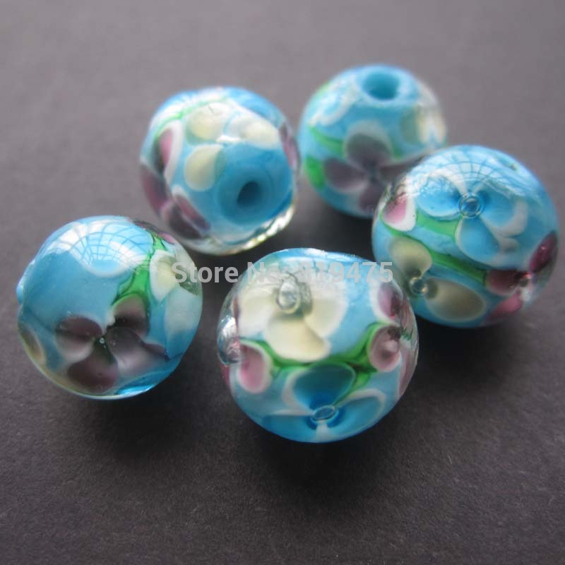 20Pcs 12mm Handmade Glass lampwork beads Flower Beads Blue Color for jewelry making Wholesale and Retail