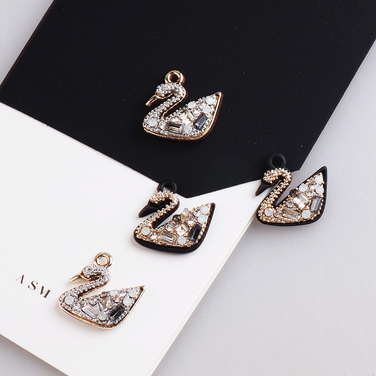 20pcs/lot rounds/square rhinestone decoration animals cartoon swan shape Upscale charms diy jewelry earring/necklace pendants